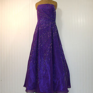 TIFFANY Purple Beaded Homecoming Prom Ball Gown